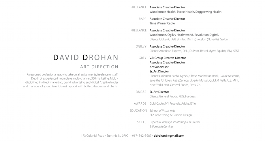david drohan art direction resume creative director associate